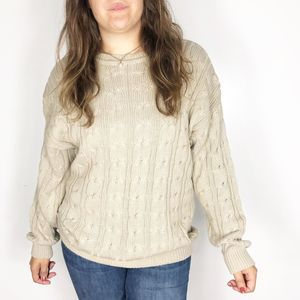 VINTAGE | Oatmeal Chunky Knit Crew Neck Sweater